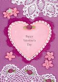 Valentine's Day Card-Lace And Heart Valentine